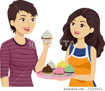 Teen Girl Mom Taste Cupcake Illustration 71255412
