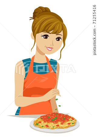 Teen Girl Make Pasta Spaghetti Illustration 71255416