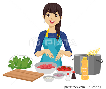 Teen Girl Cooking Ingredients Illustration 71255419