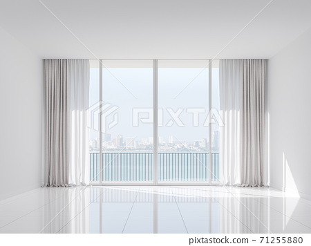 Empty white room with sea and city view 3d render 71255880