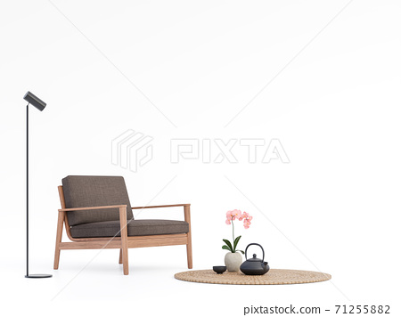 Brown fabric and wood chair on white background 3d render 71255882