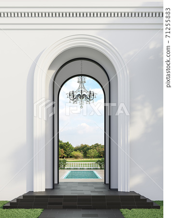 Classical style swimming pool gate with nature view background 3d render 71255883