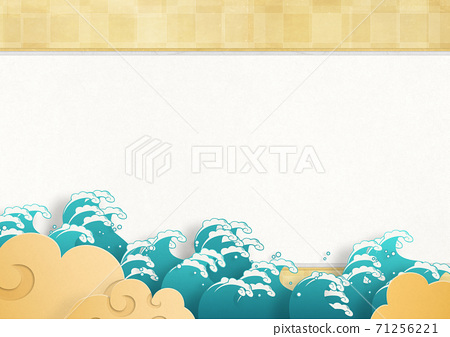 Japanese style background material, big wave 71256221