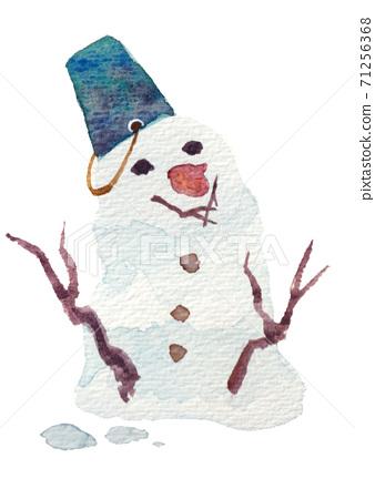 Snowman in a blue bucket 71256368