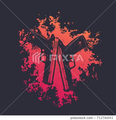 2 pistols on red splash, two guns, t-shirt print 71256841