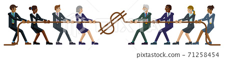 Tug of War Rope Pulling Business People Concept 71258454