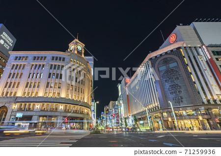 [東京]銀座4丁目城市景觀夜景 71259936