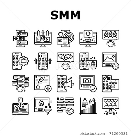 Smm Media Marketing Collection Icons Set Vector 71260381