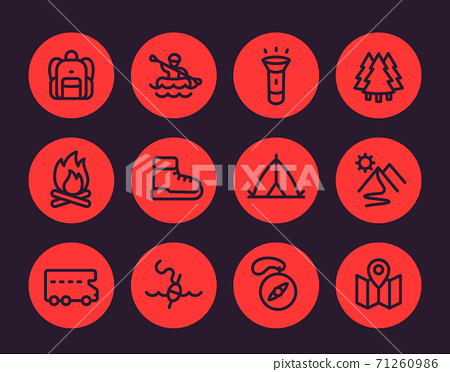 Camping, hiking, outdoor adventure icons set 71260986