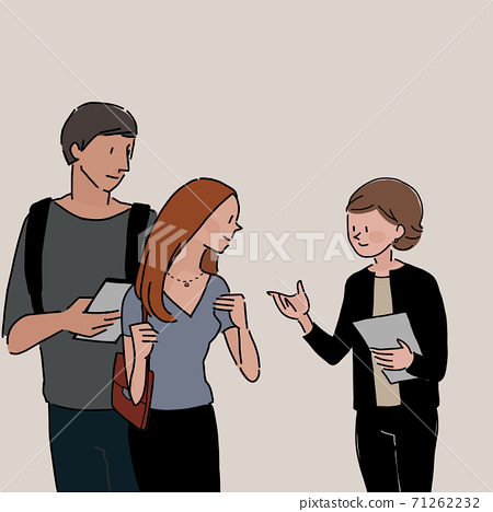 조언, 진술을하는 여성과 이야기를 듣는다 남녀 (컬러) 71262232