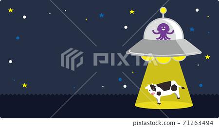 被外星人乘坐的不明飛行物(UFO)帶走的牛(綁架) 71263494