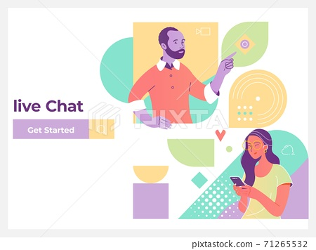 Live chat service, social media communication, networking, chatting, messaging isometric concept for web landing page, ui, mobile app, banner template 71265532