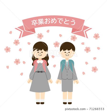 祝賀畢業的小學六年級(無干線)櫻花 71266553
