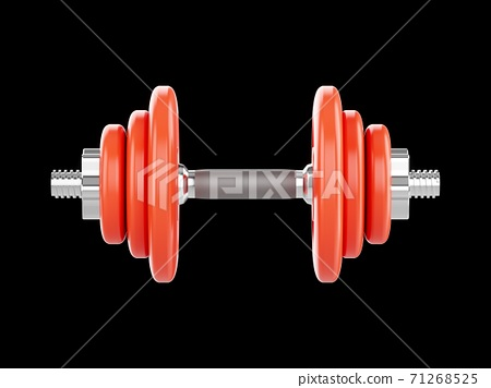 3D rendering Dumbbells for sports isolated on black background 71268525