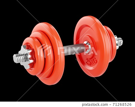 3D rendering Dumbbells for sports isolated on black background 71268526