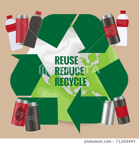 Recycle symbol with plastic bottles and cans. Vector symbol on the packaging, vector Illustration 71269495