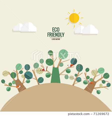 ECO FRIENDLY. Ecology concept with tree background. Vector illustration 71269672