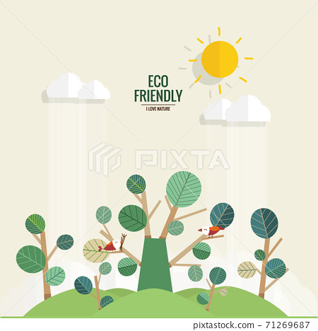 ECO FRIENDLY. Ecology concept with tree background. Vector illustration 71269687
