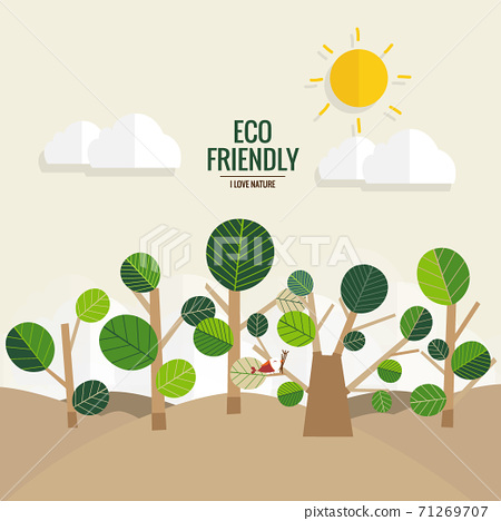 ECO FRIENDLY. Ecology concept with tree background. Vector illustration 71269707