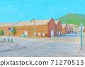 [動漫風格]北海道函館金森紅磚倉庫附近的風景 71270513