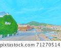[動漫風格]北海道函館金森紅磚倉庫附近的風景 71270514