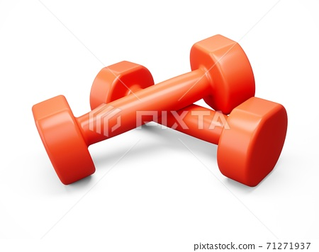 3D rendering Red Dumbbells for sports isolated on white background 71271937