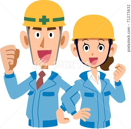 男人和女人的上身穿著藍色工作服和膽量背靠背擺姿勢 71273632