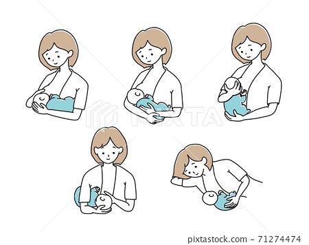 수유 자세 아기 안기 패턴 71274474