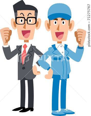 一個穿著內膽的男人背靠背擺姿勢,一個穿著藍色工作服的男人 71275767