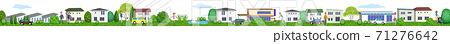 Horizontal 3D illustration of a residential area living peacefully 71276642