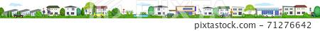 한가롭게 생활하는 주거 지역의 가로 3D 일러스트 71276642