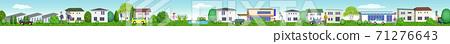 한가롭게 생활하는 주거 지역의 가로 3D 일러스트 71276643