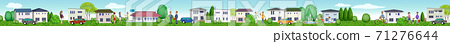 Horizontal 3D illustration of a residential area living peacefully 71276644