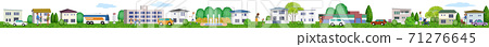 Horizontal 3D illustration of a residential area living peacefully 71276645