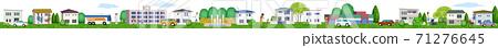 한가롭게 생활하는 주거 지역의 가로 3D 일러스트 71276645