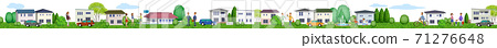 Horizontal 3D illustration of a residential area living peacefully 71276648
