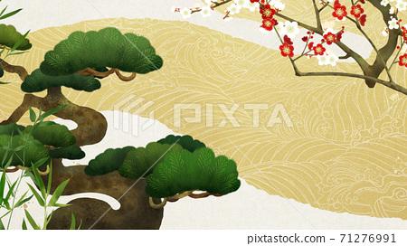 송죽매와 파도의 일본식 배경 - 여러 종류가 있습니다 71276991
