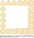 변화하는 코너. 삼각형, 원형, 사각형, 육각형. 대마의 잎 모양의 프레임 71277553