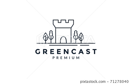 castle with tree line outline logo vector icon illustration 71278040