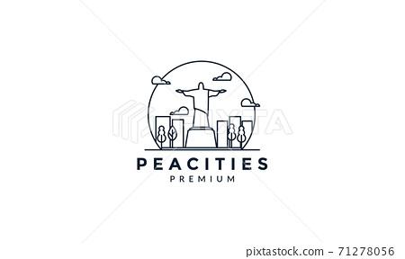 rio de janeiro statue line with city  logo vector icon illustration 71278056