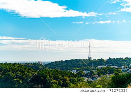 青葉青葉城遺址和仙台市在蔚藍的天空 71278333