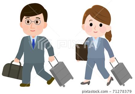 上班的商務旅行穿西裝的男性和女性僱員的插圖 71278379