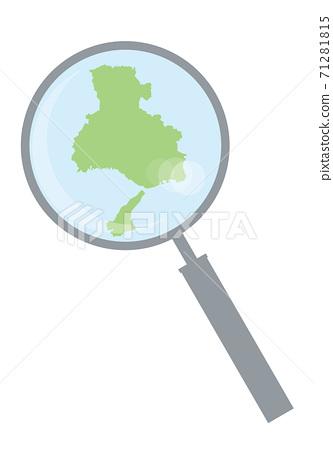 돋보기 돋보기와 효고현의 상세지도 긴키 지방 | 도도부 현별지도의 일러스트 벡터 자료 71281815