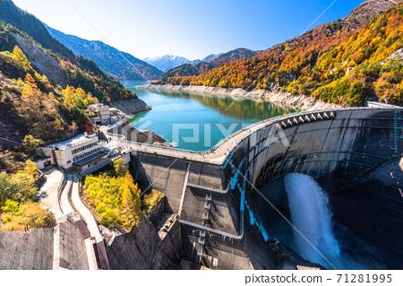 《富山縣》秋天的黑部大壩,秋天的紅葉 71281995