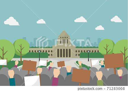 일본 국회 의사당과 항의 시위 벡터 일러스트 (문자 없음) 71283008