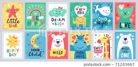 Cute baby poster. Kids play room, nursery or baby shower hand drawn cards, cute animals, moon and little star isolated vector illustration set 71283667