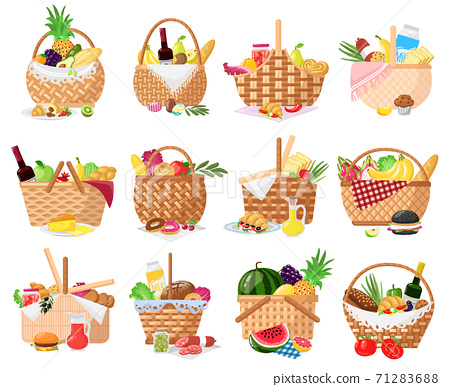 Picnic baskets. Wicker willow picnic baskets with bread, fruits, vegetables and wine. Straw basket full of delish picnic food vector illustrations 71283688