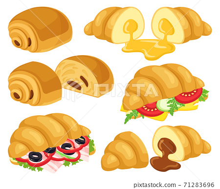 Cartoon croissant. Baked croissant with chocolate, caramel, cheese and ham croissant sandwiches. Breakfast bakery croissant vector illustrations 71283696