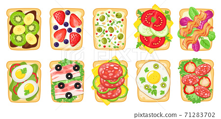 Tasty breakfast toasts. Fried bread with eggs, avocado, cheese, fish and fruits, healthy delicious sandwich, toasted bread vector illustration set 71283702