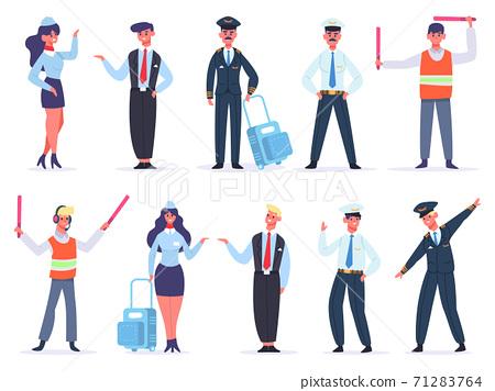 Aviation crew. Avia company workers team, captain, pilots, air hostess and crossing guard. Flight aviation aircraft command vector illustrations 71283764